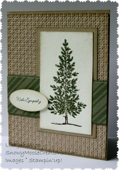 "By Lisa Johansen. Uses Stampin' Up ""Lovely as a Tree"" set. Dry embossed background panel. Note that the horizontal DSP & framing mat crosses between the image mat and the brown framing mat. Different from most card plans!"