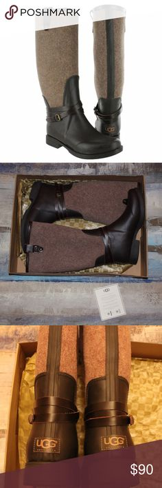"UGG chocolate Korynne rain boots NEW IN BOX These are new in box brown UGG rain boots! They are so cute but my calves are too big for them😕 the circumference at the top of the boots is 16""              I hate to part with them but I'm pulling myself out of denial because I know I'll never be able to wear them! My loss is your gain... Price Negotiable & Make An Offer! UGG Shoes Winter & Rain Boots"