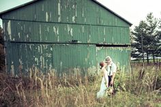#farm wedding photography | #vintage #bride & groom portrait in front of an old #barn