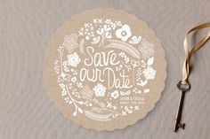 Handwritten Florals Save the Date Cards-- could be cool if you did yours like it was a beer coaster!