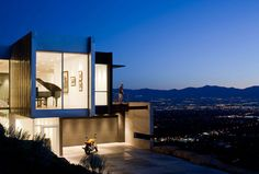 Cliff House Design with Modern Architecture H House on Salt Lake City Night View