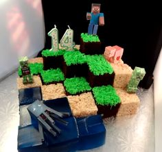 Cool Minecraft cake made by yoyomax12 on You Tube. It is made of chocolate cake, rice krispie treats, jello, and paper figures. So creative!