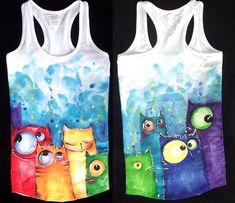 by bemain on Deviantart : Rainbowcat Tank Top Fabric Paint Shirt, Paint Shirts, T Shirt Painting, Fabric Painting, Fabric Art, Tshirt Painting Ideas, Painted Bags, Painted Clothes, Hand Painted