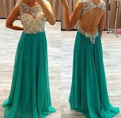 Crystal Beaded Teal Prom Dresses, Illusion Scoop Neck Prom Dress, Sweetheart Chiffon Prom Dress with Open Back