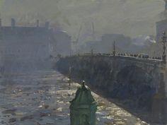 Peter Brown  Crossing Westminster Bridge, 8am  oil on board  H 31 x W 38 cm (H 12 x W 15 in)  £3,250.00