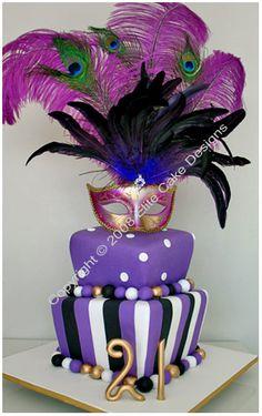 Mardi Gras themed cake