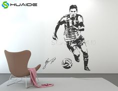 Cheap wall decals stickers, Buy Quality stickers muraux directly from China star stickers Suppliers: Poster Large Wall Decal Sticker Football Player Star Stickers Muraux Vinilos Paredes Sport Soccer Mural Wall Stickers Sports, Star Stickers, Large Wall Decals, Wall Decal Sticker, Bullet Drawing, Video Game Storage, Soccer Bedroom, Lionel Messi Barcelona, 3d Poster