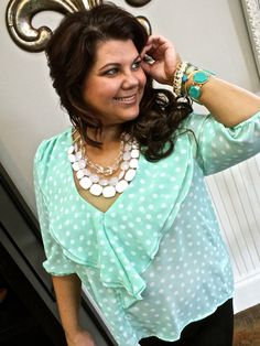 Plus size- ruffles in Mint with cute jewelry  @ shoptheelle.com 479.394.3553