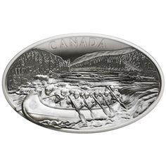 Only a coin as grand as this could ever capture the spirit of exploration that once lured thousands of Europeans into the wilderness of what is now Canada, and with a mintage of just 400 coins it is also an extremely scarce collectible. Ottawa River, Conifer Trees, Fur Trade, Of Montreal, Silver Bullion, Effigy, Concave, Silver Coins, Antique Silver