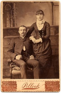 A cabinet card of a couple from Deadwood, South Dakota