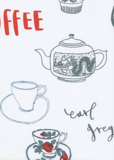 Charlotte Farmer's Tea & Coffee design for the New House roller blind collection - charming detail - illustration at your window - exclusive to newhousetextiles.co.uk