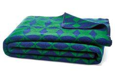 Green & Blue Geometric Print Optic Diamond Blanket, Indigo/Forest @ One Kings Lane $100