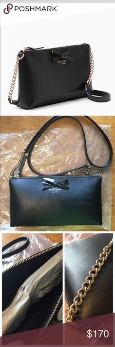 Cute Kate Spade crossbody bag! NWOT. Black leather. Please zoom in the last pic for more details! kate spade Bags Crossbody Bags
