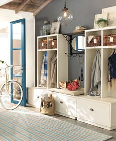 Love this grey Benjamin Moore Granite Af-660 against the blue door. Can I make these cubbies for my mud room?  Google Image Result for http://colorchats.benjaminmoore.com/wp-content/uploads/2012/06/granite-AF-660.png