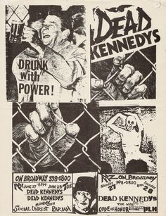 Dead Kennedys, Social Unrest, Pariah, Code of Honor, PLH @ On Broadway 1983 Rock Posters, Band Posters, Concert Posters, Event Posters, Movie Posters, Arte Punk, Punk Art, New Wave, Arte Peculiar