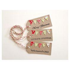 $5.00 Christmas Bunting Tags Set 3 by LittleOlly on Handmade Australia
