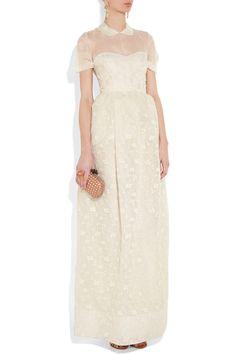 Hand-embroidered silk-organza gown