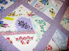 Use hankies to make a crazy patch quilt. I might try this with Grandma& old hankies. Colchas Quilt, Patch Quilt, Quilt Blocks, Vintage Sheets, Vintage Quilts, Vintage Linen, Crazy Patchwork, Crazy Quilting, Quilting Board