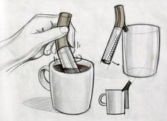 Yves Behar's sketches for the cocoa-making tool he designed for Design for a Living World
