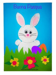 Coniglio di Pasqua da realizzare con dischetti struccanti di ovatta e cartoncini colorati. BIGLIETTO DI PASQUA Come realizzare un biglietto di Pasqua con d