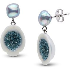 White South Sea Pearl and Blue Diamond Earrings (€2.775) ❤ liked on Polyvore featuring jewelry and earrings