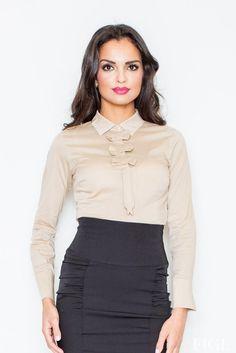 Petite Collared Vintage Bow Neck Beige Shirt #blouse #shirt #top https://queens-market-clothes.myshopify.com/