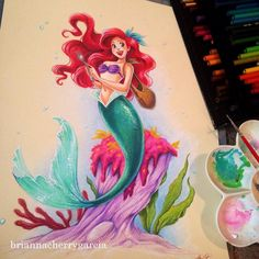 Finished #Ariel! #myart #tonedpaper #disney #littlemermaid #mermaid #disneyprincess #prismacolor