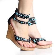 Black Canvas Turquoise Tribal Embellished Designer Wedge Shoe