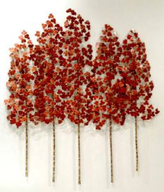 RB Smith - Aspen Grove 3pc 5 stem translucent red Beautiful Forest, Whistler, Aspen, Delicate, Presents, Bronze, Sculpture, Texture, Contemporary