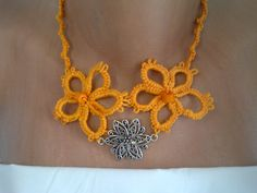 tatted necklace, orange by SperoDesignsRomania on Etsy Tatting, Jewelery, Crochet Necklace, Orange, Trending Outfits, Unique Jewelry, Handmade Gifts, Christmas, Etsy
