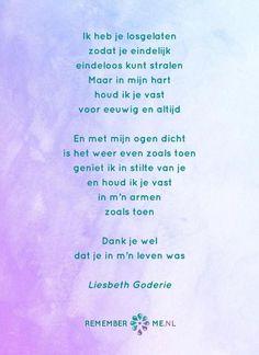 Het gedicht 'Eindeloos Stralen' over het afscheid, het verdriet en het gemis na de dood van een geliefde. Lees meer op: http://www.rememberme.nl/gedichten-over-rouw-en-verlies/