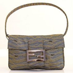 Fendi Baguette Gold / Silver Metallic Fabric Pochette. Evening handbag