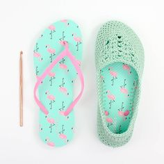 """Cotton yarn and a rubber sole make this free crochet slippers with flip flop soles pattern perfect for wearing around the house (or even outside as shoes!) Free crochet pattern and video tutorial using Lion Brand Cotton in """"Mint""""! Crochet Sandals, Crochet Boots, Crochet Slippers, Crochet Slipper Pattern, Crochet Patterns, Free Crochet, Knit Crochet, Crochet Fabric, Crochet Flip Flops"""