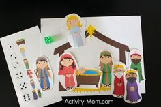 Nativity Crafts and Activities for Kids - Happy Home Fairy Preschool Christmas, Christmas Nativity, Christmas Games, Christmas Crafts For Kids, Christmas Activities, Christmas Printables, Winter Christmas, Preschool Math, Xmas