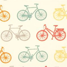 ecru birch organic fabric with colourful bicycles