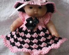 Crochet pattern for Berenguer 5 inch baby doll dress set handmade