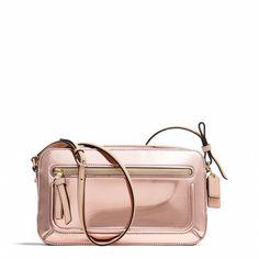 Coach Poppy Flight Bag In Mirror Metallic Leather-my newest bag love it! Best Designer Bags, Designer Handbags, Pink Poppies, Coach Outlet, Metallic Leather, Metallic Bag, Flight Bag, Luxury Bags, Swagg
