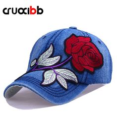 CRUOXIBB Fashion Women s Baseball Cap Embroidery Red Rose Hat Bone Snapback  Women Casquette Outdoor Jeans Hat 8d3c15f28cb