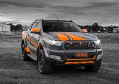 JMR Creative Design Ford Ranger Wildtrak. Wrapped in matte metallic & fluro orange film. XD SERIES® ROCKSTAR 2 Wheels. JMR.com.au