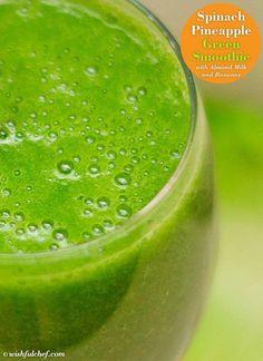 Spinat-Ananas-Grün-Smoothie mit Mandelmilch und Bananen - New Ideas  #Bananen #...  Spinat-Ananas-Grün-Smoothie mit Mandelmilch und Bananen – New Ideas  #Bananen #MANDELMILCH #mit  #Bananen #Ideas #Mandelmilch #mit #SpinatAnanasGrünSmoothie #und Easy Green Smoothie Recipes, Veggie Recipes Healthy, Green Detox Smoothie, Healthy Green Smoothies, Juice Smoothie, Smoothie Drinks, Fruit Smoothies, Healthy Drinks, Breakfast Smoothies