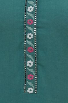 Thread Work, Kurta Designs, Straight Cut, Teal Green, Floral Motif, Kurti, Designer Dresses, Indian, Embroidery