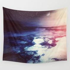 Surreal Space Tapestry Blue Planet Tapestry by TheMindBlossom
