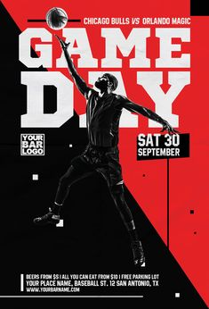 Basketball Game Day Vol 2 Flyer Template - Flyer for Sport Events Basketball Posters, Sports Basketball, Sport Football, Soccer, Sports Advertising, Sports Marketing, Sports Day, Sports Flyer, Sports Themed Birthday Party