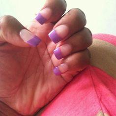Natural nails purple painted tips