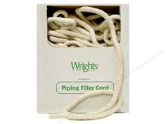 "Wrights Cotton Piping Cord is a washable, ""fluffy"" cord that is used to make your own custom piping for pillows, upholstery, and apparel. Have perfect matching cord, when you make your own, using the same fabric. 100% Cotton. 1/2 inch x 100 yard. Natural."