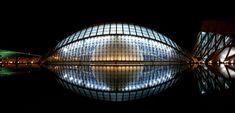 Planetarium, Valencia - Spain - Pixdaus Architecture Photo, Modern Architecture, Planetarium Architecture, Valencia Spain, Building Structure, Building Exterior, Exterior Lighting, Modern Buildings, Photo Contest