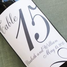 Wedding Wine Label Table Number with pretty by nancynikkodesign, $26.00