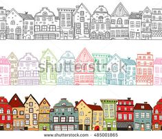 Häuser nahtlose Kompositionen mit einfarbigen Stadtgebäuden Stock-Vektorgrafik (Lizenzfrei) 485001865 Houses seamless compositions with monochrome town buildings with colored outlines and painted cityscape isolated vector illustration<br> Illustration Photo, Building Illustration, House Illustration, Town Drawing, House Drawing, Clay Houses, Paper Houses, Adult Coloring Pages, Coloring Books