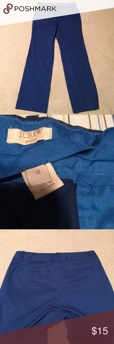 """J. Crew Blue Chino Pants Sz 12.  Gorgeous shade of blue and super flattering fit. 31"""" inseam. Nice stretch to these. J. Crew Pants Straight Leg"""