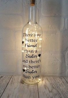 No better friend than a sister Light up bottle birthday gift present best sister Gifts for sisters Personalised Sister Birthday Gift Light up bottle Best Sister Christmas Gifts Best Sister Christmas Gifts, Diy Birthday Gifts For Sister, Best Gift For Sister, Little Sister Gifts, Creative Birthday Gifts, Cute Birthday Gift, Best Birthday Gifts, Best Friend Gifts, Birthday Quotes For Sister